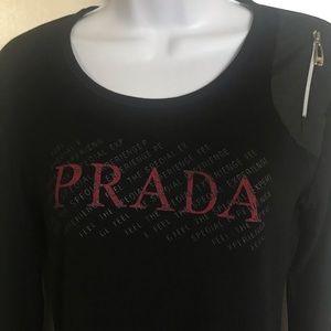 PRADA , made in Italy, black top , size L